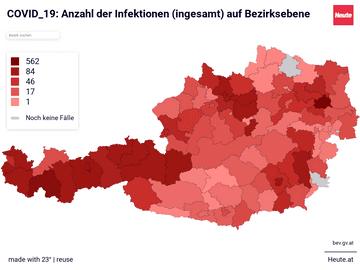 COVID_19: Anzahl der Infektionen (ingesamt) auf Bezirksebene